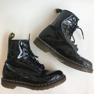 Dr. Martens Women Boots Black Patent 8 Eye 8 1460